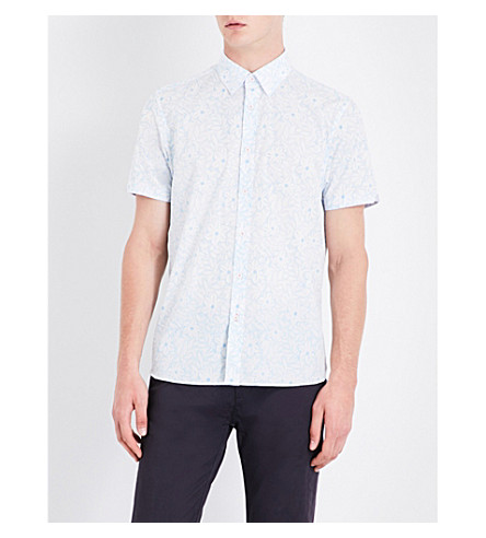 TED BAKER Floral regular-fit cotton shirt (Blue