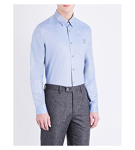 TED BAKER Regular-fit cotton shirt (Dark+blue