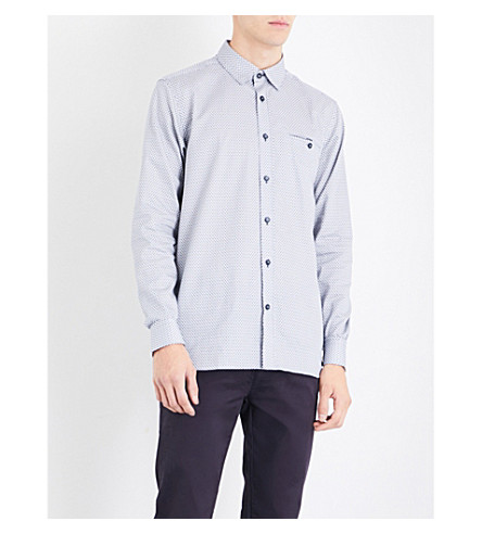 TED BAKER Geometric-patterned slim-fit cotton shirt (Dark+blue