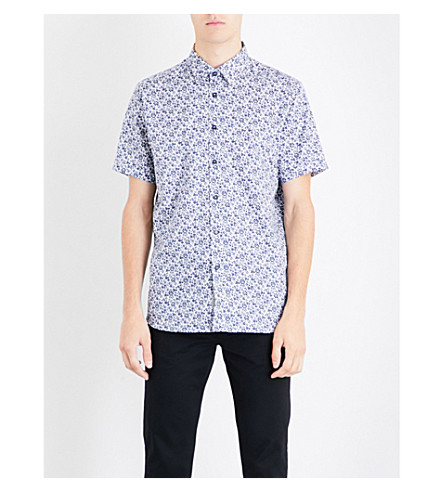 TED BAKER Floral-print regular-fit cotton shirt (Dark+blue