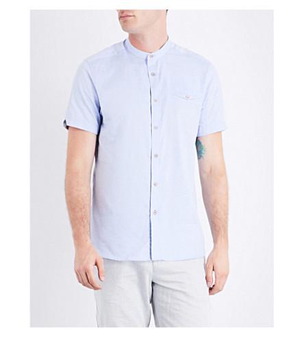 TED BAKER Elvos grandad-collar cotton shirt (Blue