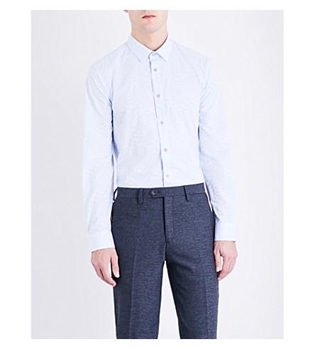 TED BAKER 叶提花棉衬衫 (轻 + 蓝)