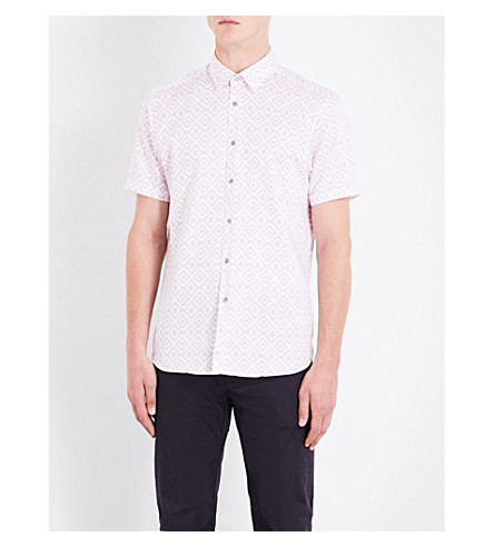 TED BAKER Geometric-print slim-fit cotton shirt (Pink