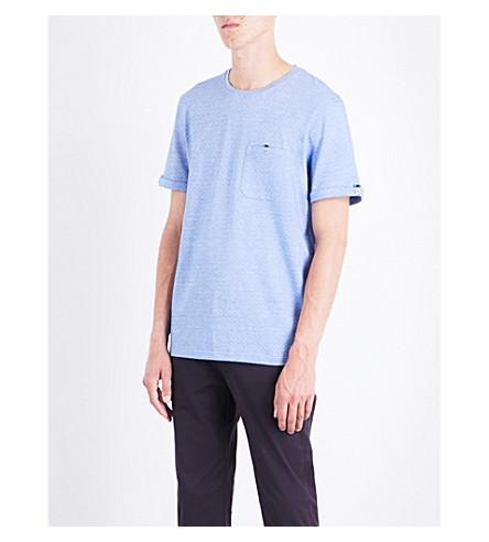 TED BAKER Vue cotton-jacquard T-shirt (Blue