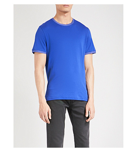TED BAKER Pik cotton-piqué T-shirt (Mid+blue