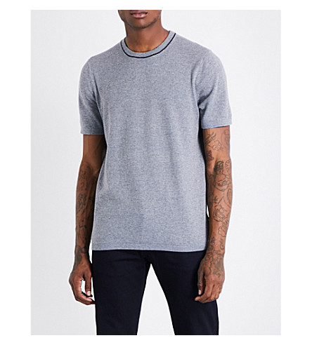 TED BAKER Knitted cotton-blend T-shirt (Grey+marl