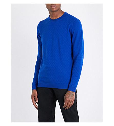 TED BAKER Textured cotton-blend jumper (Blue