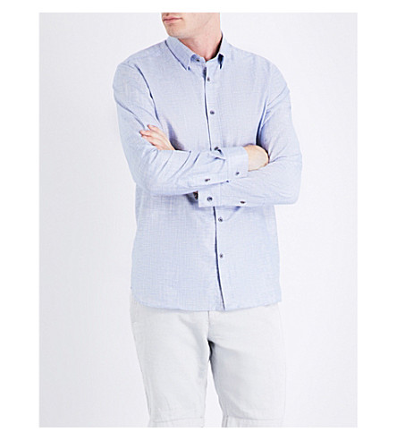 TED BAKER Losta regular-fit cotton and linen-blend shirt (Blue