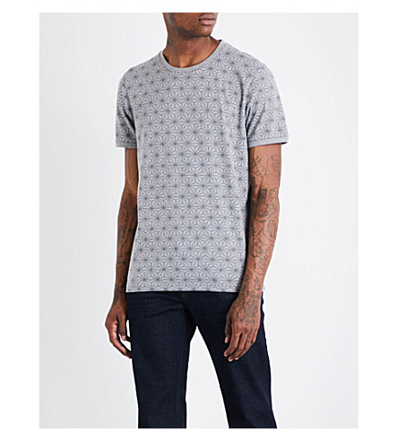 TED BAKER Geometric-print cotton T-shirt (Grey+marl