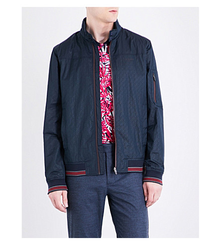 TED BAKER Squares shell bomber jacket (Navy
