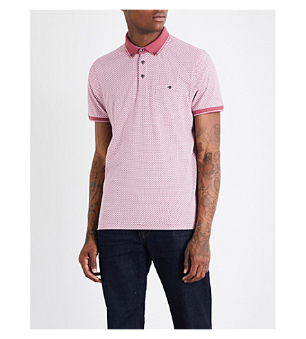 TED BAKER Geometric-print cotton polo shirt (Mid+pink