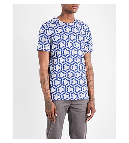 TED BAKER Mitch geometric-print cotton T-shirt (Blue