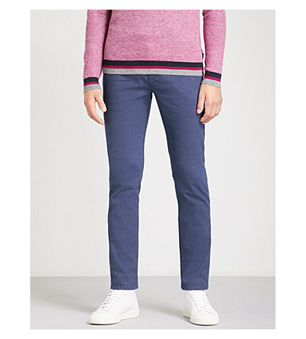 TED BAKER Regular-fit tapered mid-rise cotton-blend trousers (Blue