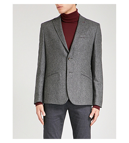 TED BAKER Mini Design slim-fit wool-blend jacket (Charcoal