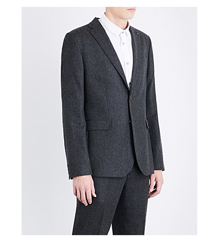 TED BAKER Copely Herringbone regular-fit wool-blend jacket (Charcoal