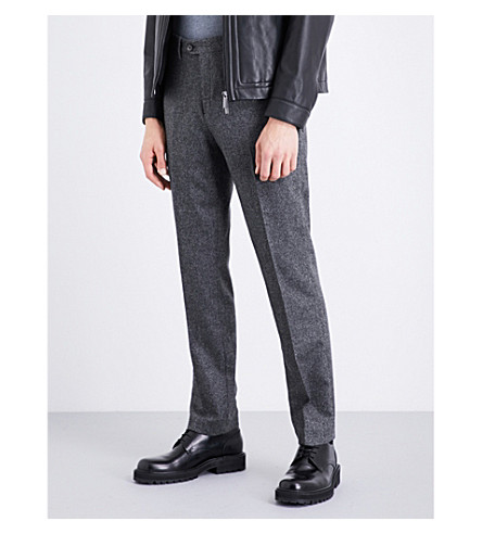 TED BAKER Instro mini design wool-blend trousers (Charcoal