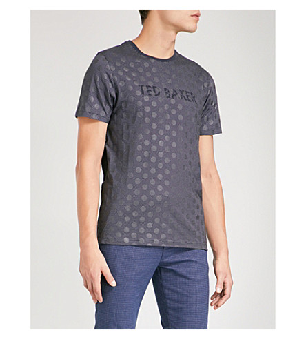 TED BAKER Logo-print polka-dot cotton T-shirt (Navy