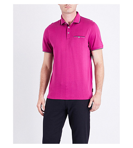 TED BAKER Square cotton polo shirt (Fuchsia