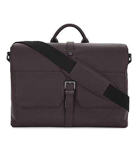 TED BAKER Cheeta leather satchel (Deep+purple