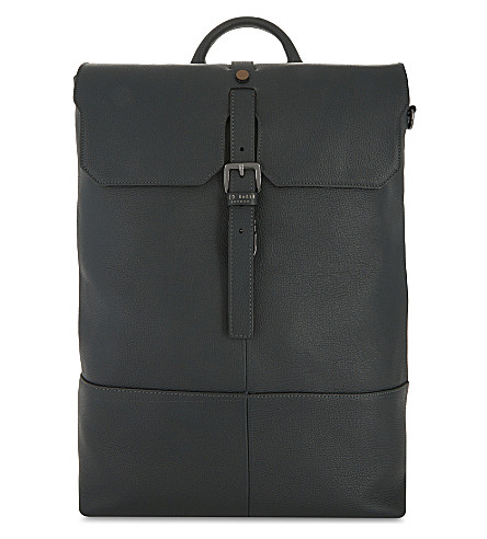 TED BAKER Mane textured leather backpack (Dark+green