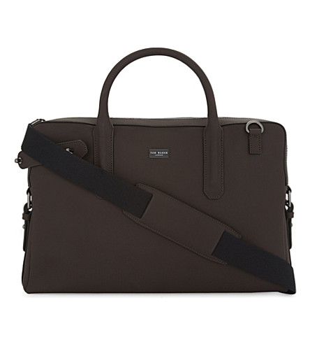 TED BAKER Rubber leather briefcase (Brown