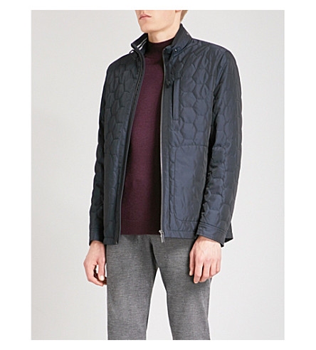 TED BAKER Funnel-neck quilted jacket (Navy