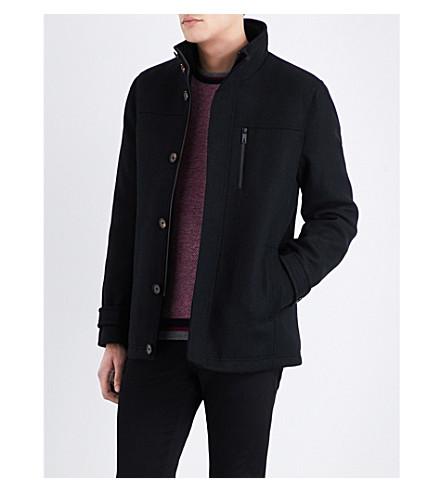 TED BAKER Funnel-neck wool-blend coat (Black
