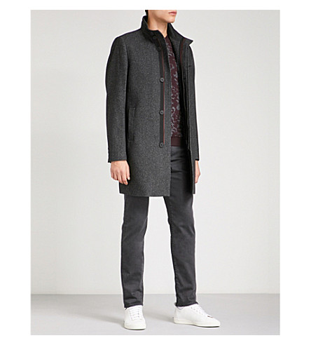TED BAKER Flecked funnel-neck wool-blend coat (Charcoal