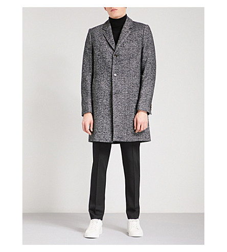 TED BAKER Herringbone woven coat (Navy