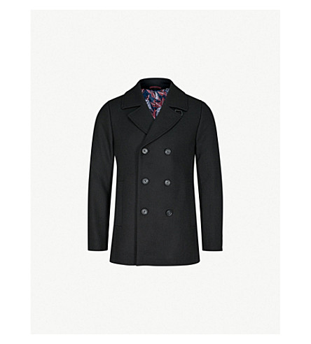 TED BAKER Double-breasted wool-blend coat (Black