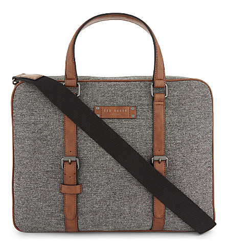 TED BAKER Digger wool-blend document bag (Grey