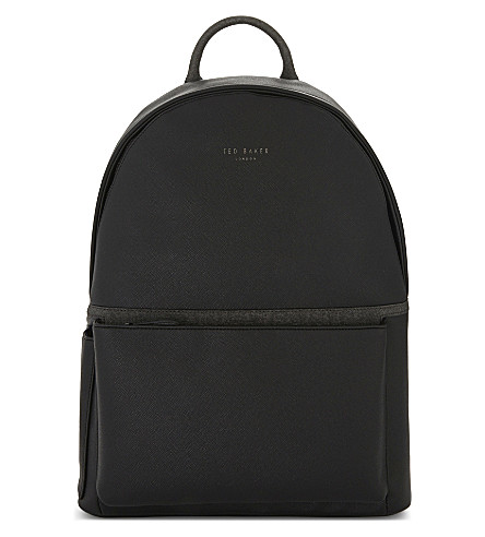 TED BAKER Fangs crossgrain leather backpack (Black