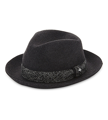 TED BAKER Wool fedora hat (Charcoal