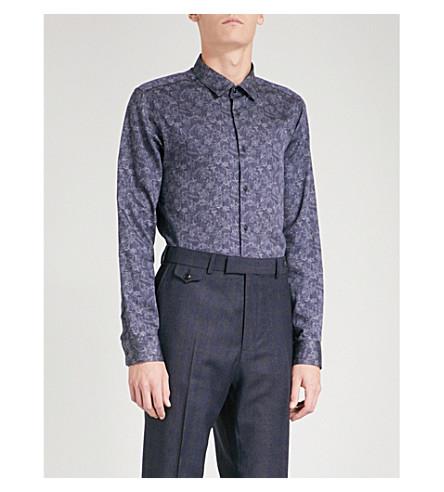TED BAKER Floral-patterned regular-fit cotton shirt (Blue