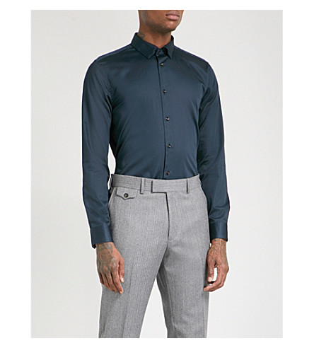 TED BAKER Regular-fit stretch-cotton shirt (Navy