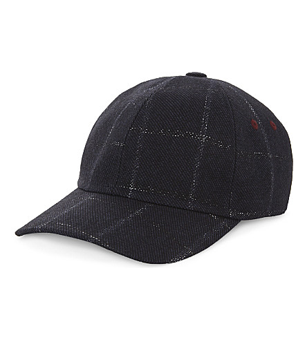 TED BAKER Cotton-blend checked baseball cap (Navy