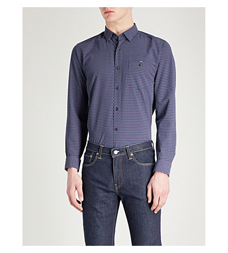TED BAKER Wyne geometric-pattern regular-fit woven shirt (Dark+blue