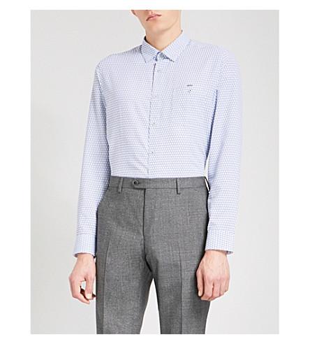 TED BAKER Geometric-pattern regular-fit woven shirt (White