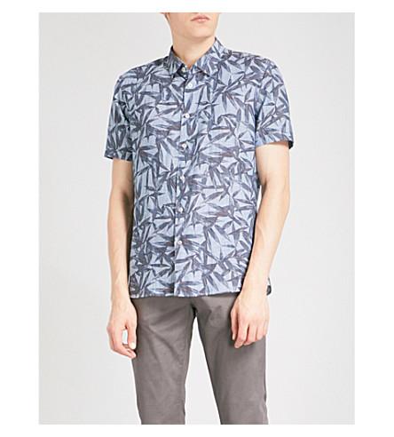 TED BAKER Leaf-patterned regular-fit linen and cotton-blend shirt (Blue