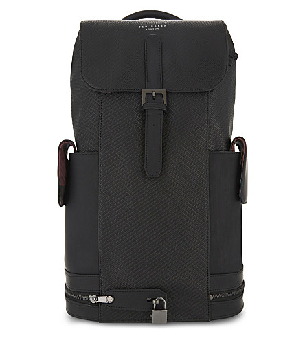 TED BAKER Havana carbon fibre effect leather backpack (Black