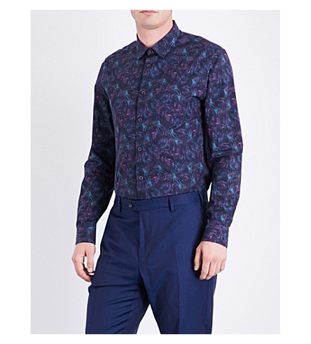 TED BAKER Karaf palm-print cotton shirt (Navy