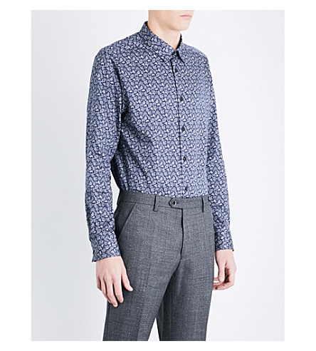 TED BAKER Lysee paisley regular-fit cotton shirt (Navy