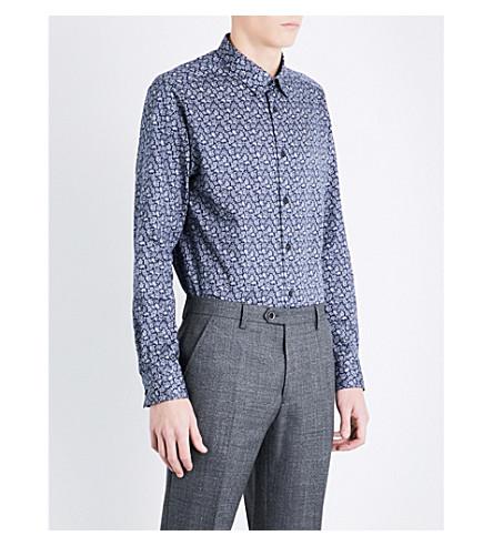TED BAKER Lysee 佩斯利常规版型合身棉衬衫 (海军