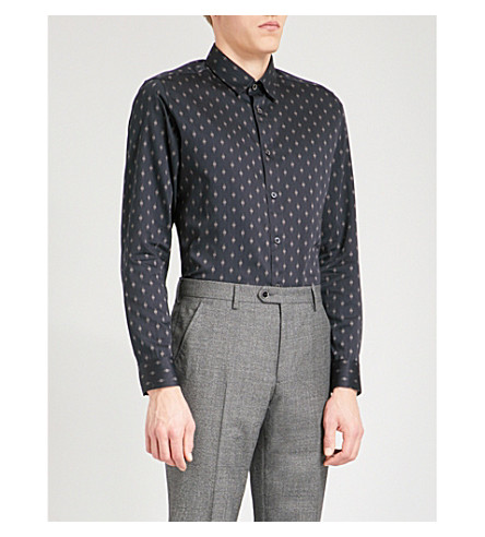 TED BAKER Monico diamond-patterned regular-fit cotton shirt (Navy