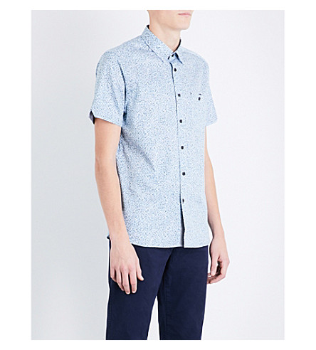TED BAKER Rems abstract-pattern regular-fit cotton shirt (White