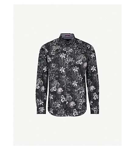 TED BAKER Konkord floral-print regular-fit cotton shirt (Black