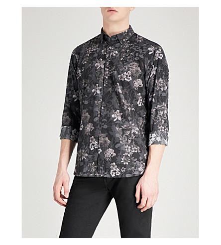TED BAKER Konkord floral-print regular-fit cotton shirt (Black