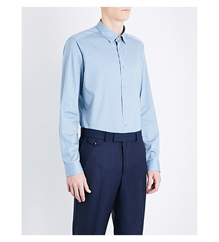 TED BAKER Larosh 几何图案常规版型棉衬衫 (蓝色