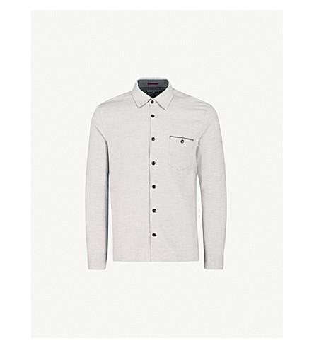 TED BAKER Bezie regular-fit cotton shirt (Grey+marl