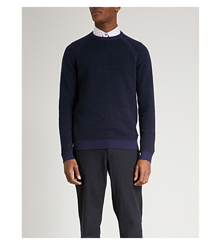 TED BAKER Textured knitted jumper (Navy